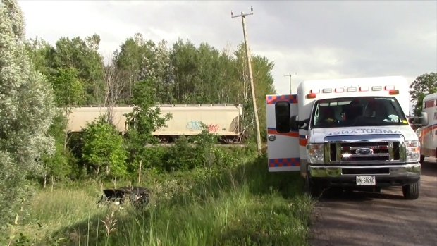 Four people are injured after the SUV they were driving in collided with a freight train near Peterborough, Ont. on Tuesday evening. (CP24)