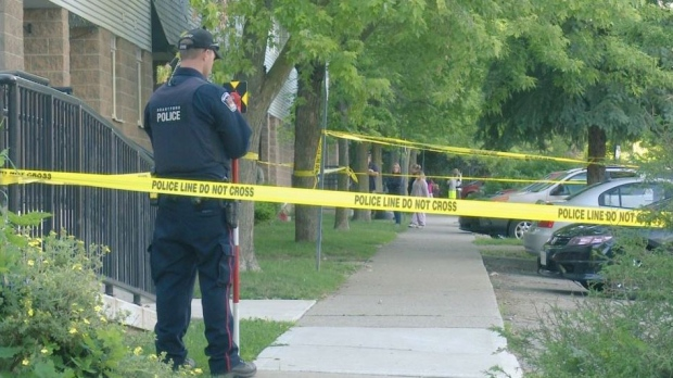 A three-year-old boy is seriously injured after he was struck by a car while riding a scooter in the parking lot of a Brantford, Ont. townhouse complex on Tuesday afternoon. (David Ritchie)