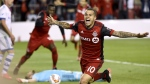 Toronto FC forward Sebastian Giovinco celebrates his game-winning goal in second half Canadian Championship soccer action against the Montreal Impact, in Toronto on Tuesday, June 27, 2017. (Nathan Denette / THE CANADIAN PRESS)