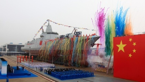 China's new domestically-built 10,000-ton Type 055 destroyer at Jiangnan Shipyard in Shanghai, on June 28, 2017. (Wang Donghai / Xinhua via AP)