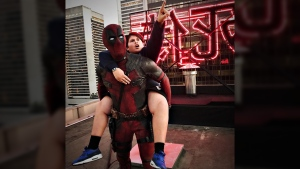 Canadian actor Ryan Reynolds is shown as Deadpool with Julian Dennison on the Vancouver set of 'Deadpool 2,' on June 27, 2017. (Ryan Reynolds / Instagram)