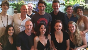 Justin Trudeau is shown with the cast and crew of 'X-Men: Dark Phoenix' in Montreal on June 24, 2017. (James McAvoy / Instagram)