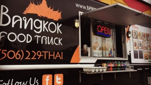 A man has died after the Moncton-based Bangkok Food Truck collided with a transport truck in Neguac, N.B. on June 27, 2017. (Courtney Larkin/Twitter)