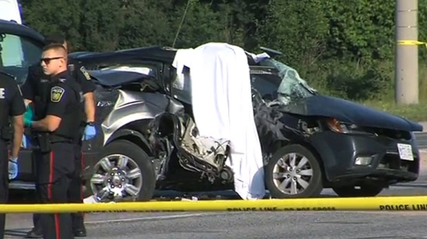One person is dead and two others were sent to hospital following a two-vehicle crash in Mississauga on June 28, 2017.