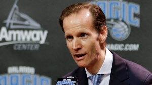 Orlando Magic new president of basketball operations Jeff Weltman answers questions during an NBA basketball news conference, May 24, 2017, in Orlando, Fla. (John Raoux/AP)