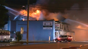 A century-old hotel in Campbell River went up in flames overnight, displacing more than a dozen residents. June 28, 2017. (CTV Vancouver Island)