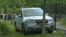 SUV strikes alleged robber.