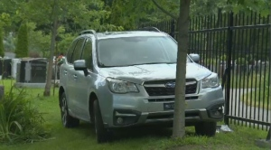 SUV strikes alleged robber.