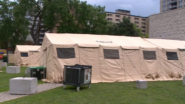 Field hospital prepped as heightened security for