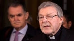 Australian cardinal George Pell reads a statement to reporters as he leaves the Quirinale hotel after meeting members of the Australian group of relatives and victims of priestly sex abuses, in Rome, Italy March 3, 2016. (AP / Riccardo De Luca)