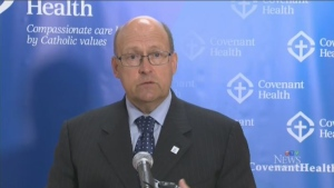 Dr. Owen Heisler, chief medical officer of Covenant Health, speaks at a news conference in Edmonton, on Wednesday, June 28, 2017.