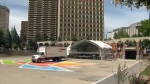 Canada Day preparations at Olympic Plaza