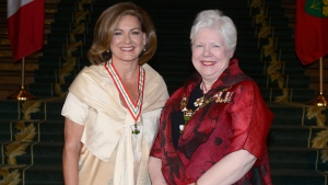 CTV National News Chief Anchor Lisa Laflamme stands beside Lieutenant Governor of Ontario Elizabeth Dowdeswell after receiving the Order of Ontario on Wednesday, June 28, 2017. (Handout/Ontario Ministry of Citizenship and Immigration)