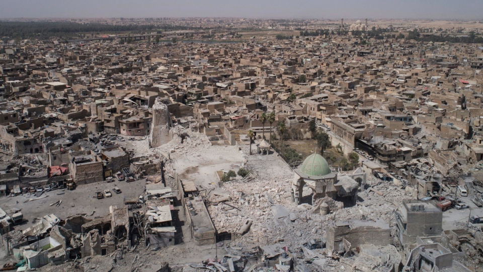 Aerial view of the al-Nuri mosque in the Old City of Mosul, Iraq, on June 28, 2017. (Felipe Dana / AP)