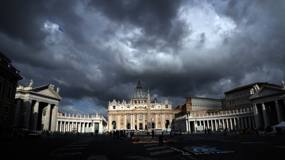 Clouds hang over St. Peter's Basilica, at the Vatican, on June 29, 2017. (Gregorio Borgia / AP)
