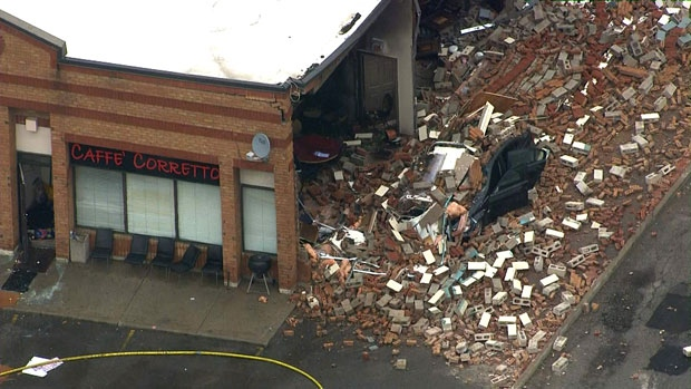 A explosion blew out the side of a cafe in Vaughan on June 29, 2017.