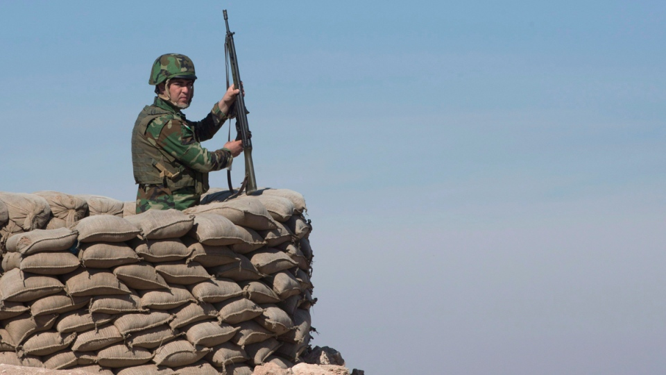 A Peshmerga soldier at an observation post in northern Iraq, on February 20, 2017. (Ryan Remiorz / THE CANADIAN PRESS)