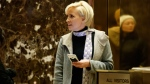 Mika Brzezinski waits for an elevator in the lobby at Trump Tower in New York, on Nov. 29, 2016. (AP Photo/Evan Vucci)