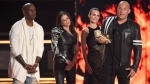 Tyrese Gibson, from left, Michelle Rodriguez, Jordana Brewster, and Vin Diesel accept the Generation award for 'The Fast and the Furious' at the MTV Movie and TV Awards on May 7, 2017. (Chris Pizzello / Invision / AP)