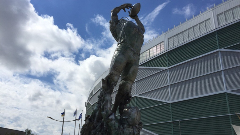 A new statue at Mosaic Stadium is seen in this photo taken Thursday, June 29, 2017. (COLE DAVENPORT/CTV REGINA)