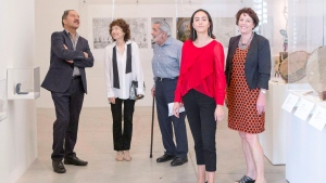 Martin Wikaira, left to right, Hershi Kirshenbaum , Martin Fallick, Maia Wikaira and Rachel Wikiaira visit the Art Gallery of Ontario in Toronto on Thursday June 29, 2017. (Chris Young/The Canadian Press)