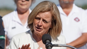 In this file photo, Alberta Premier Rachel Notley speaks in Edmonton Alta, on Tuesday, May 30, 2017. (THE CANADIAN PRESS / Jason Franson)