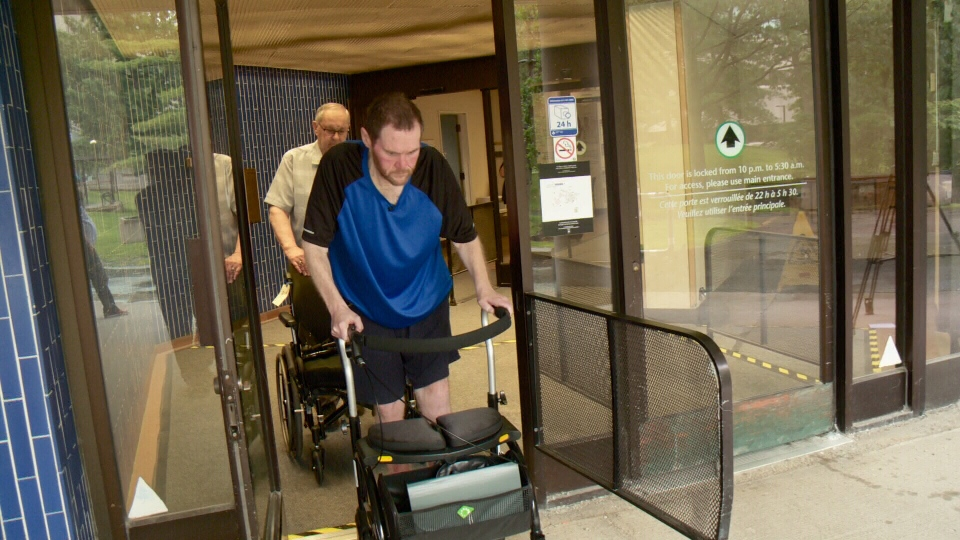 46-year-old Troy Kraus leaves Ottawa Rehab Centre.