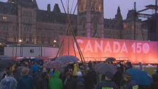 A teepee that was erected on Parliament Hill