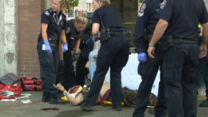 An attack in Victoria's Centennial Square left one man bleeding profusely from the head on June 30, 2017. (CTV Vancouver Island)