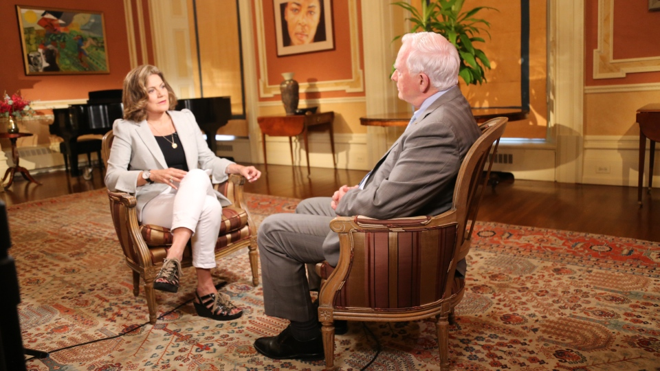 CTV National News Chief Anchor and Senior Editor Lisa LaFlamme interviews Governor General David Johnston in Rideau Hall on June 30, 2017.