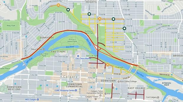 Canada Day road closures Calgary