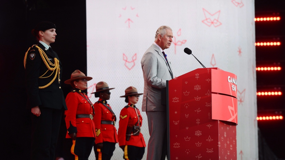 Prince Charles speaks during Canada 150 celebrations on Parliament Hill in Ottawa on Saturday, July 1, 2017. (THE CANADIAN PRESS/ Sean Kilpatrick)