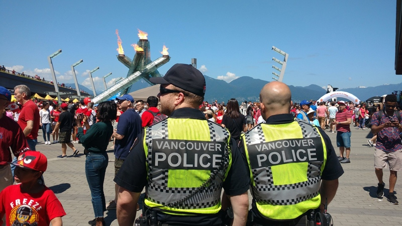 Police supervise a Canada Day event at Vancouver's Canada Place on July 1, 2017. (Ben Miljure / CTV News)