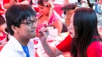 Crowds clad in red and white packed into downtown Vancouver to celebrate Canada Day on Saturday, July 1, 2017. (Photos by Kenny Tai for CTV News Vancouver)