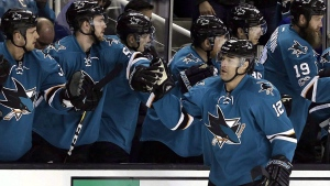 San Jose Sharks' Patrick Marleau (12) is congratulated after scoring a goal against the Dallas Stars during the first period of an NHL hockey game Sunday, March 12, 2017, in San Jose, Calif. Free agent forward Patrick Marleau has signed with the Toronto Maple Leafs.The team says it's a three-year deal worth an average of US$6.25 million per year. (THE CANADIAN PRESS/AP/Ben Margot)