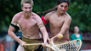 First Nations youth participate in a traditional Lacrosse game in Montreal, Saturday, June 17, 2017. (Graham Hughes / THE CANADIAN PRESS)