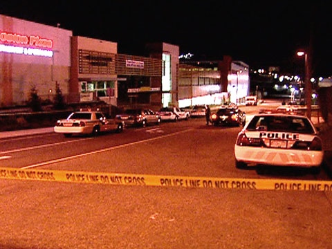 The scene of a possible gangland shooting being investigated by police in Vancouver on Sunday, April 5, 2009.