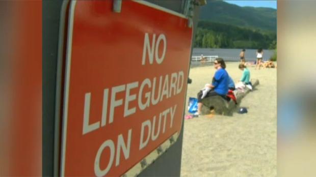 A 'No Lifeguard' sign is shown at Thetis Lake, July 3, 2017. (CTV Vancouver Island)