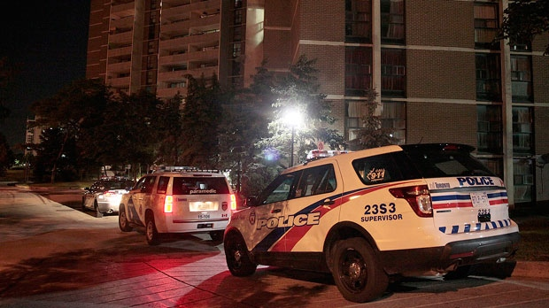 Police are investigating a shooting at a Rexdale apartment building on Tuesday morning. (John Hanley/ CP24)