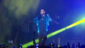 Canadian rapper Belly performs at Nathan Phillips Square as part of the Toronto's Canada Day 150th celebrations on July 3, 2017.