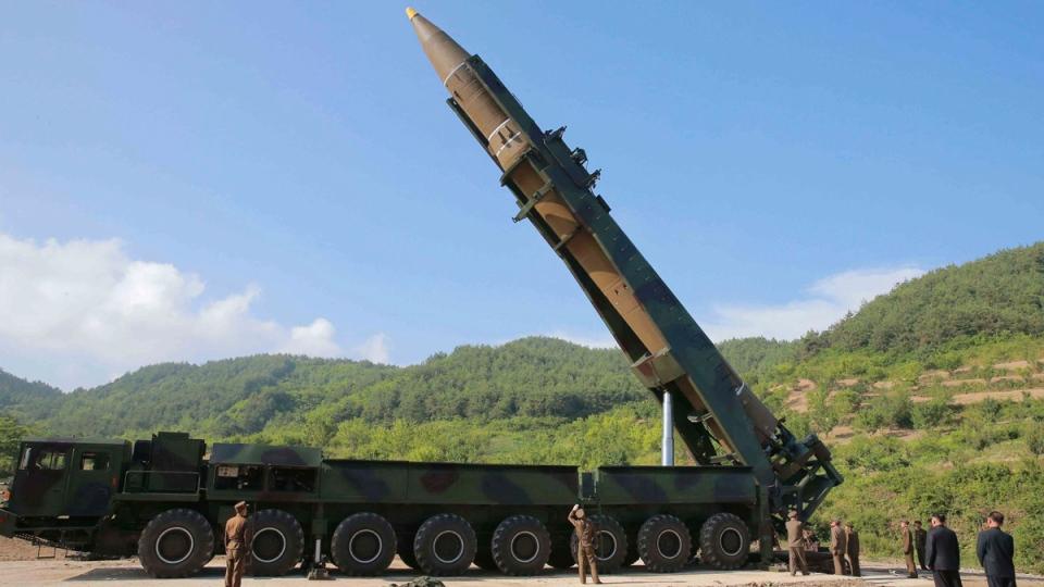 Preparing to launch the Hwasong-14 intercontinental ballistic missile, ICBM, in North Korea's northwest on July 4, 2017. (Korean Central News Agency/Korea News Service via AP)