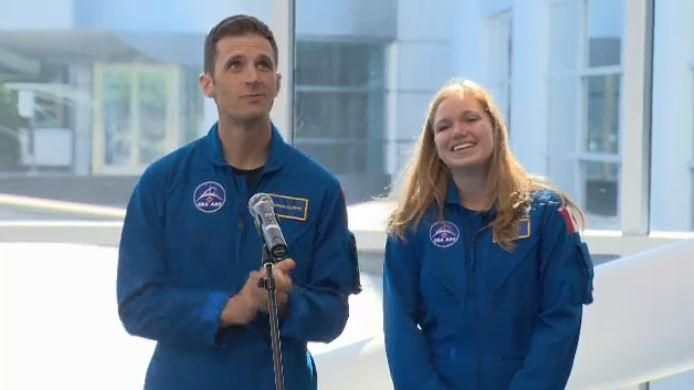 Canadians Joshua Kutryk and Jennifer Sidey visit the Canadian Space Agency near Montreal.