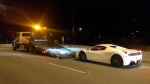 The luxury vehicle, worth an estimated $250,000, was doing approximately 150 km/hr over the posted speed limit for the bridge. (West Van PD)