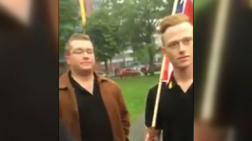 Canadian Armed Forces members who appeared in an online video of a confrontation at an Indigenous protest in Halifax on Canada Day will be removed from duty and training while the military conducts an investigation into their conduct. (Todd Battis / CTV)