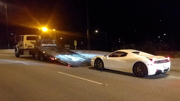 A 2015 Ferrari 458 is seen in this undated police handout photo. (THE CANADIAN PRESS / HO, West Vancouver Police)