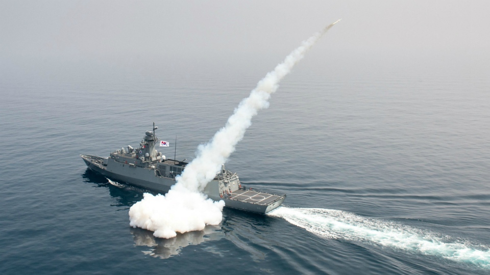 A South Korean navy ship fires a missile during a drill in South Korea's East Sea on Thursday, July 6, 2017. (South Korea Defense Ministry)