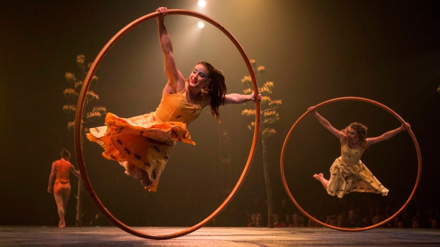 Performers are pictured on stage during a dress rehearsal for the Toronto opening of Cirque Du Soleil's latest creation 'Luzia' on July 27, 2016. (Chris Young./THE CANADIAN PRESS)