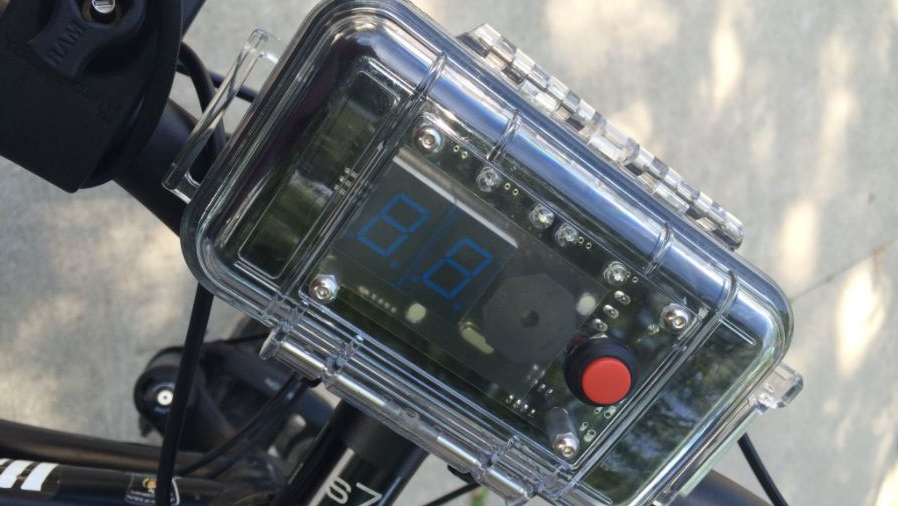 This device allows cycling police officers to determine how much space they are left by passing motorists.