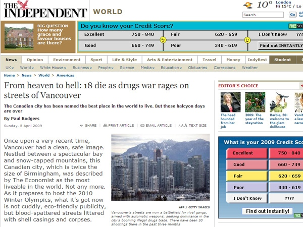 The very public violence that is plaguing the Vancouver region is now getting international attention. April 6, 2009.
