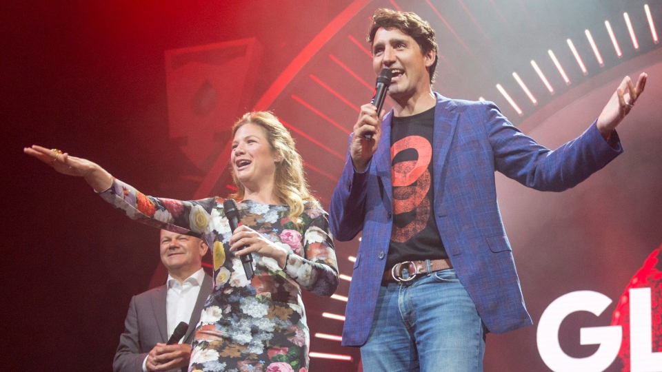 Prime Minister Justin Trudeau and his wife Sophie Gregoire Trudeau open the Global Citizen concert at the G20 summit in Hamburg, Germany on Thursday, July 6, 2017. (THE CANADIAN PRESS/Ryan Remiorz)